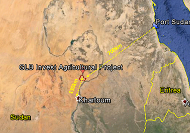 Location of GLB Invest project in Sudan